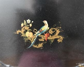 """Large Oval tole painted tray $40 with flowers around the edges, gold gilt ornamental decorations and bird in the center with fruit. 29"""" long x 22"""" wide"""