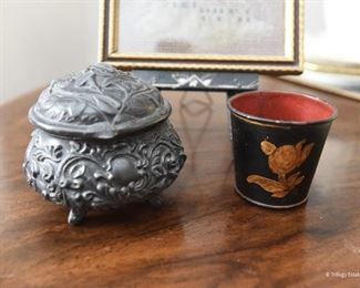 Base metal Footed Pot with Hinged Lid $8  Small Tole Painted Metal Cache Pot $10