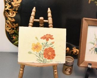 Small Painting of Marigolds on Easle $18