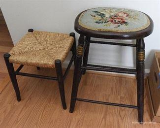 "Rush footstool  $25 12""x 12"" x 14"" Needlepoint Stool  $30 Approximate footprint 16"" x 16"", seat height 30"""
