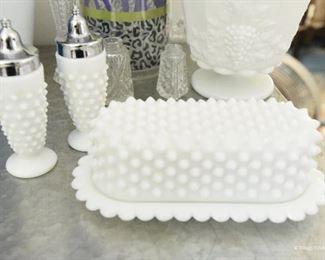 Hobnail Milkglass Butter Dish and S&P shakers $12
