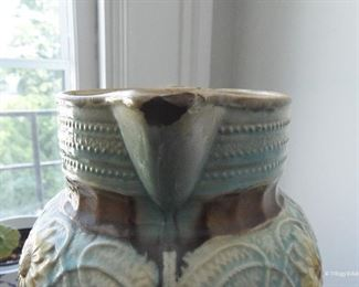 """Majolica Pitcher $10 Approximately 11"""" tall. Lots of crazing and a few small chips, as reflected in price"""