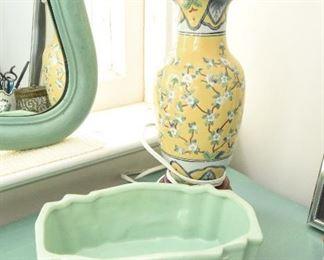 Small Green McCoy Planter $15 Small Yellow Urn Lamp $20
