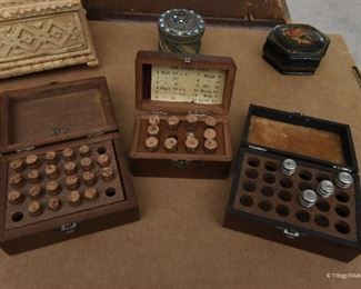 Lot of three Watchmaker's Jewels  $75 The three boxes hold small vials with balance and roller rubies