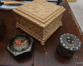 Carved Wood Box $8 Small Russian Painted Lacquer Box SOLD Small Jeweled Filigree Round Box SOLD