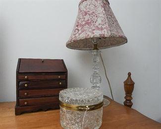 Mini Dropfront Secretary SOLD Glass Lamp $22 Glass Lidded Box SOLD
