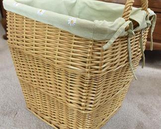 Lined Hamper-Size Wicker Basket $15