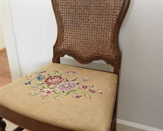 Needlepoint seat, cane back chair $25