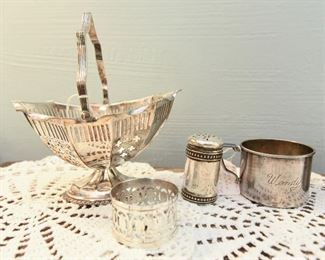 """Lot of small sliverplate items, including bridal basket $35  """"Wendy"""" cup is SOLD"""