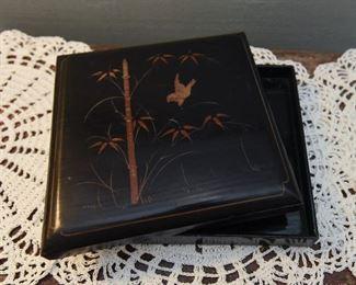 "Black ebonized wood box $12 7"" square, 1"" thick"
