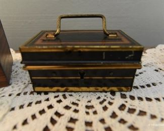 """Mini Metal Cash Box  $40 Made in England (no key). 4"""" x 2.5"""" x 2. Complete with bale on top"""