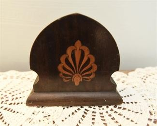 """Inlaid wood decorative object  $6 Big chip out of lower right corner. 7"""" wide, 6"""" tall, 2.5"""" deep"""