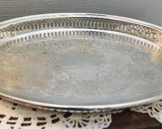 "Sheffield Silverplate Gallery Tray  $15 14"" x 10"""