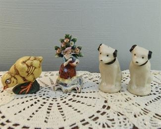 """RCA """"Nipper"""" S&P shakers $22 marked 55-63 on bottom. No stoppers. 3.5"""" tall Chalkware Chick. One small chip in paint on tail feathers. 2.75"""" tall  $24 Chelsea porcelain figure $5 Two broken leaf tips at very top. 4"""" tall"""