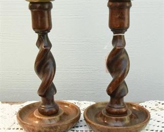 """Late 19th century English oak barley twist candlesticks  $48 with brass bobeche. The bobeche can be replaced. 8"""" tall, 4.5"""" diameter at base."""