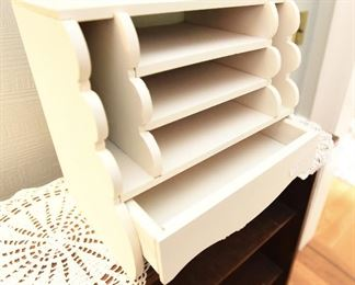 "White wood cute desk organizer with drawer  $18 12"" x 9"" x 11.5"""