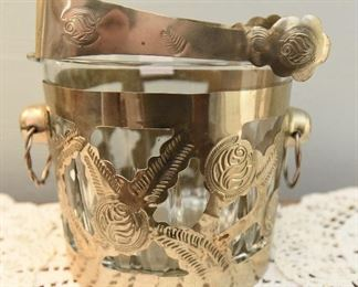 """Sugar Cube bucket with silver-tone metal overlay and matching tongs. $14 5.25"""" tall, 7"""" wide"""