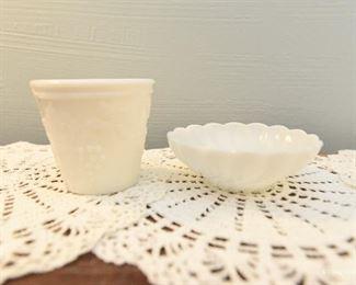 Milk Glass Small dish and small cache pot $8