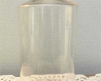 "Large blown glass bottle, no stopper $18 11"" tall, 6"" diameter"