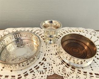 Two Silverplate wine coasters $8 Small weighted empire sterling silver pot $24