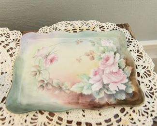"""Hand painted 1906 dresser tray $10 signed. 8.5"""" x 6.5'"""