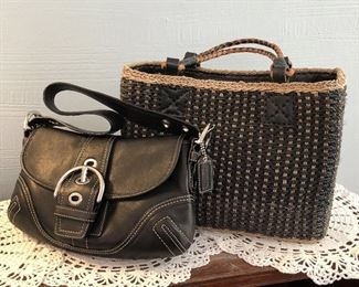 Small Black Leather Coach Bag $25 Woven Grass Bag SOLD Both in excellent condition.