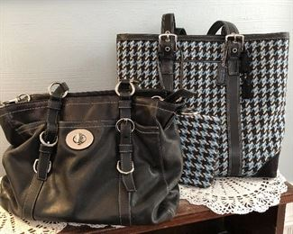 Large Black Leather Coach Bag $35 Blue and Black Houndstooth Coach Tote with Wristlet $55