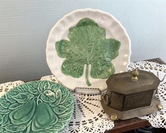 """Two majolica plates $5 each 9"""" , 7"""" Brass jewelry casket with hinged lid  $6 6.5"""" long, 4"""" wide, 4"""" tall"""