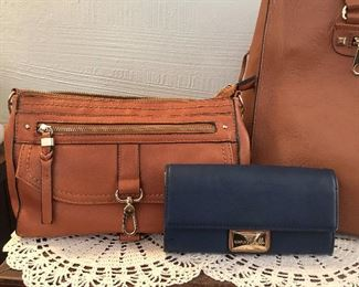 Small Natural Leather Bag $15 Blue wallet  $5