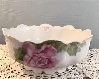 """Bavarian porcelain fruit bowl $14 roses on the outside 9.5"""" diameter, 3.5"""" deep. scalloped edges"""