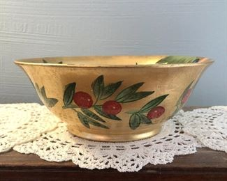 """Gold leaf ceramic bowl $22 with bird and berries 10"""" diameter, 3.75"""" tall"""