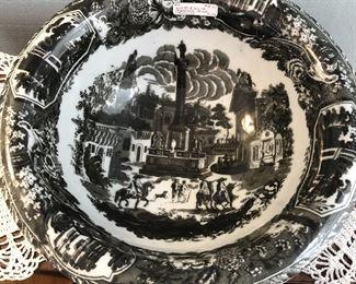 "Reproduction Ironstone Bowl  $24 black tansferware. 12"" diameter, 4.75"" deep"