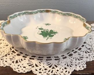 """Herend Green """"Chinese Bouquet"""" Large Fluted Edge Bowl  $65 8.5"""" diameter"""