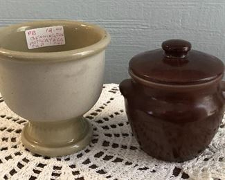 Bennington Pottery Egg Cup $3 Brown Bean Pot With Lid $3