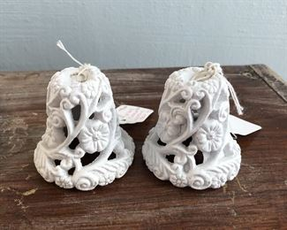 """Vintage Chalkware Wedding Bells  $14 Approximately 2.5"""" tall"""
