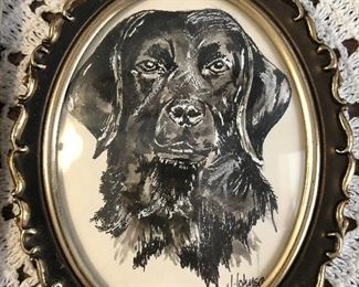 Pen and Ink drawing with gouache of dog $16 Oval frame 4x5