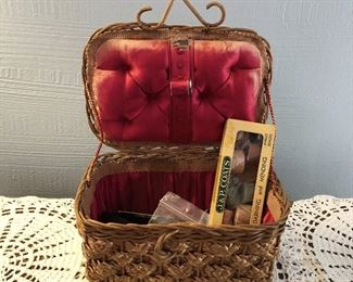 Small Red Satin-Lined Sewing Basket $8