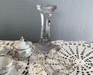 Glass Candlestick $7 Glass Knife Rests $4 each