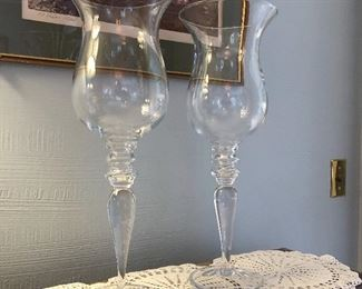 """Pair large vases, candle holders 19"""" x 5.5""""  $25"""