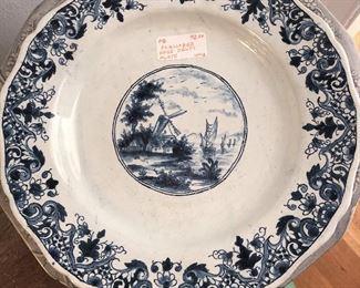 Scalloped Edge Delft Plate $20