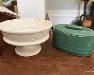 Off-White Planter SOLD Oval Green Lidded Dish $12