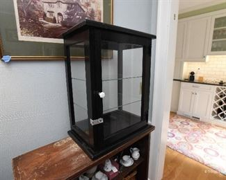 """Black Wood Display Case  $45 with glass shelves and top. 15"""" x 12"""" x 20"""""""