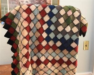 """Wool squares quilt/throw, unfinished back. $35 All squares are whip stitched together. Approximately 60x40"""""""
