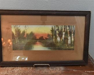 """Sunset among the birch trees $10 Approximately 12"""" x 5"""""""