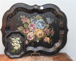 """Small Tole Painted Tray with Dasiys SOLD Large Tole Painted Tray with Flowers $20 Approximately 24"""" x 14"""""""