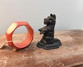 Vintage Wood Red Bangle Bracelet $8 Small Cast Iron Scottie Dog SOLD