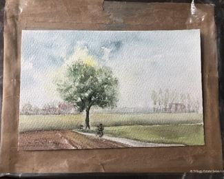 Small Watercolor $8 Person on bicycle under tree