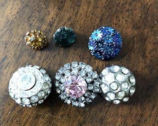Six Rhinestone Buttons $6