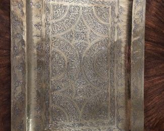 Persian Brass Tray $48 15.625 x 11. Hand hammered and worked.