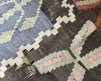 """Kilm Rug As Is  $30 """"1948"""" Date woven in. Damage as shown. Large usable areas for upcycling."""